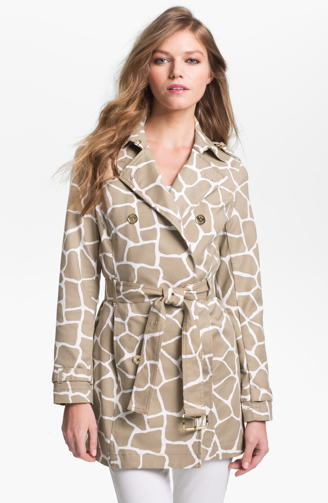 Alternate Image 1 Selected - MICHAEL Michael Kors Giraffe Print Trench Coat (Petite)