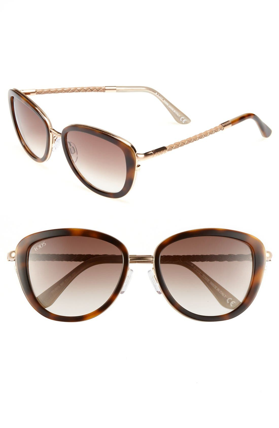 Main Image - Tod's 53mm Woven Leather Temple Sunglasses