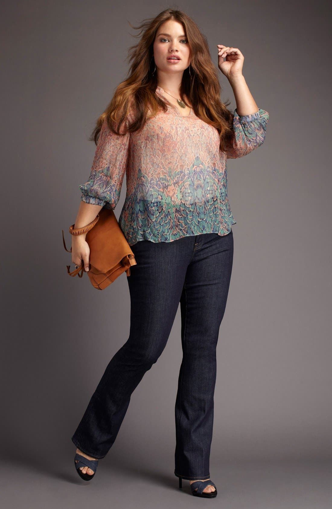 Alternate Image 4  - Lucky Brand 'Sara' Sheer Deco Print Top (Plus)