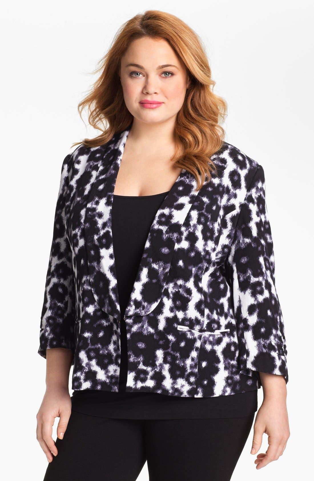 Alternate Image 1 Selected - Sejour Print Tuxedo Jacket (Plus Size)
