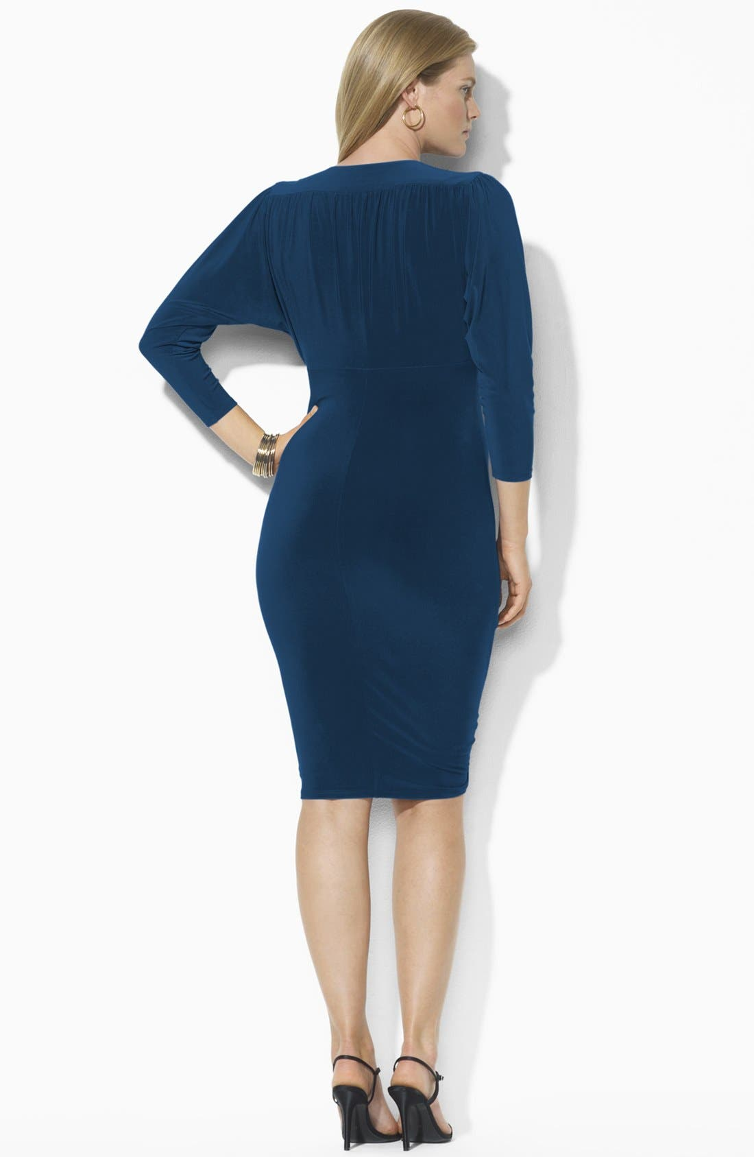 Alternate Image 2  - Lauren Ralph Lauren Draped Jersey Dress (Plus) (Online Only)