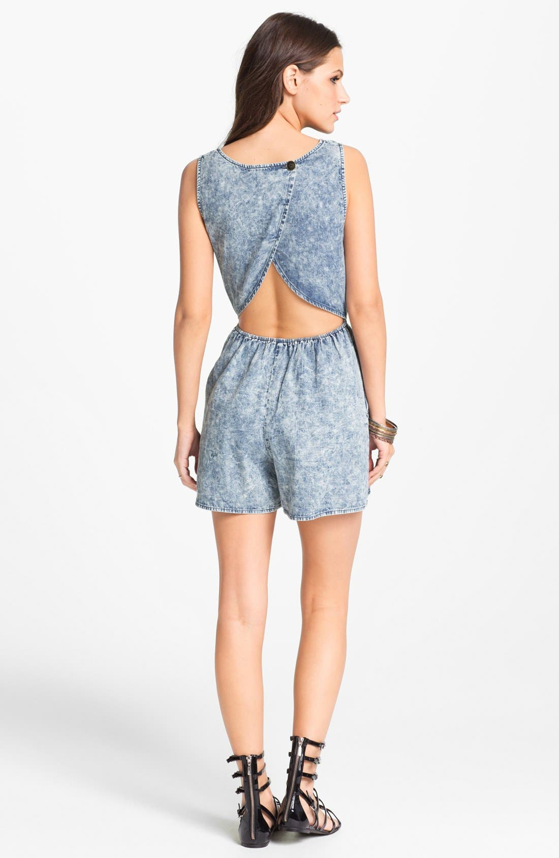 Alternate Image 2  - Mimi Chica Acid Wash Cutout Romper (Juniors) (Online Only)