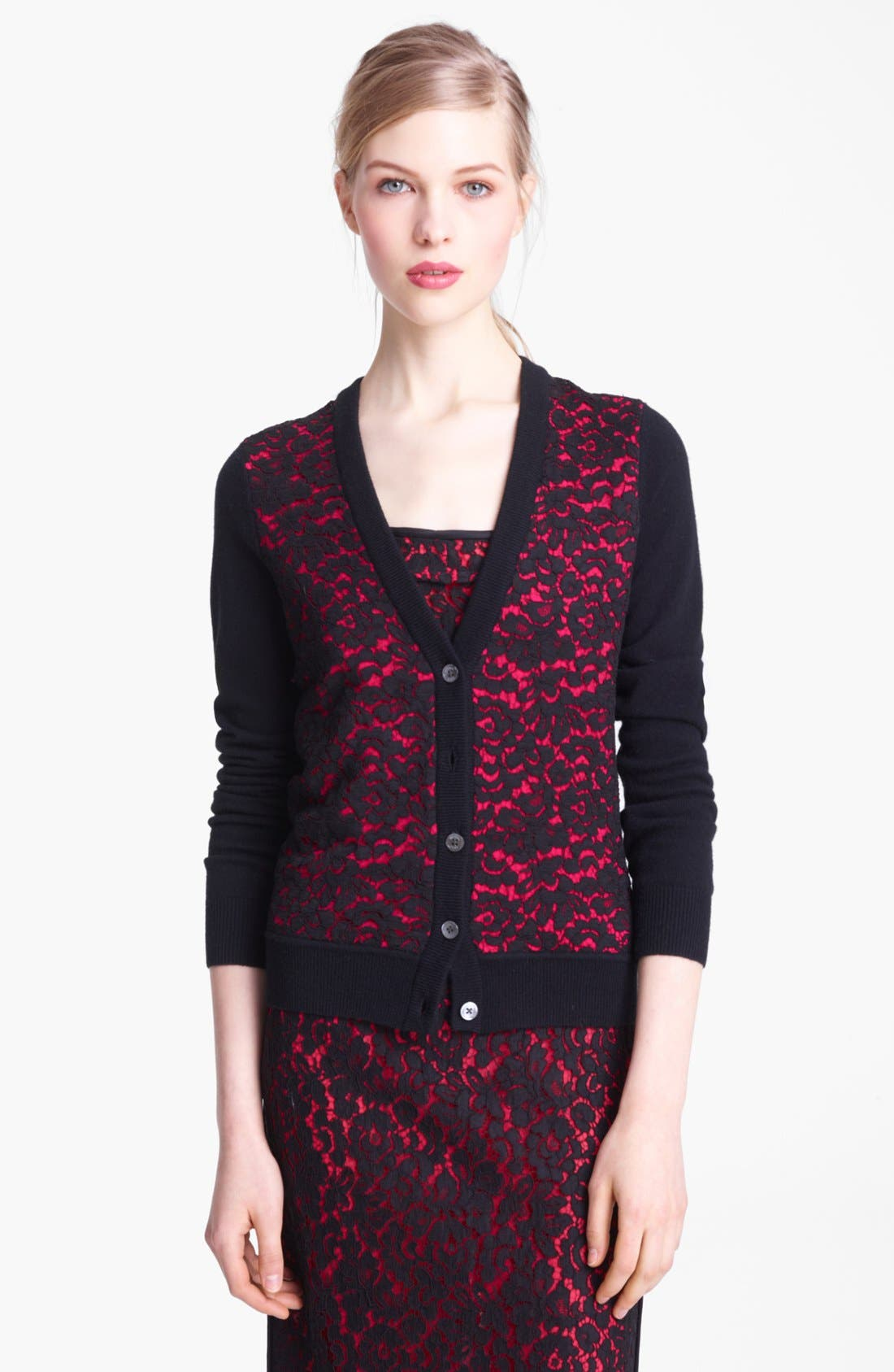 Alternate Image 1 Selected - Michael Kors Lace Front Cashmere Cardigan