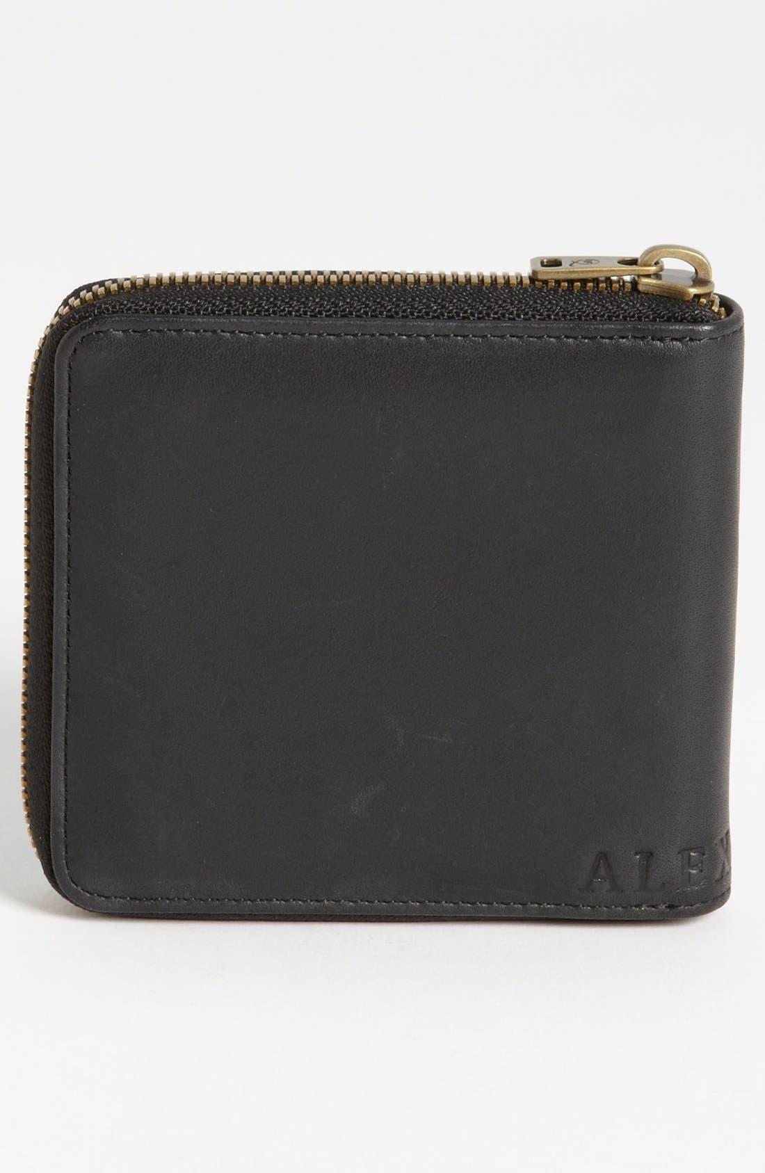 McQ by Alexander McQueen 'Aztec' Embossed Zip Around Wallet,                             Alternate thumbnail 3, color,                             Black