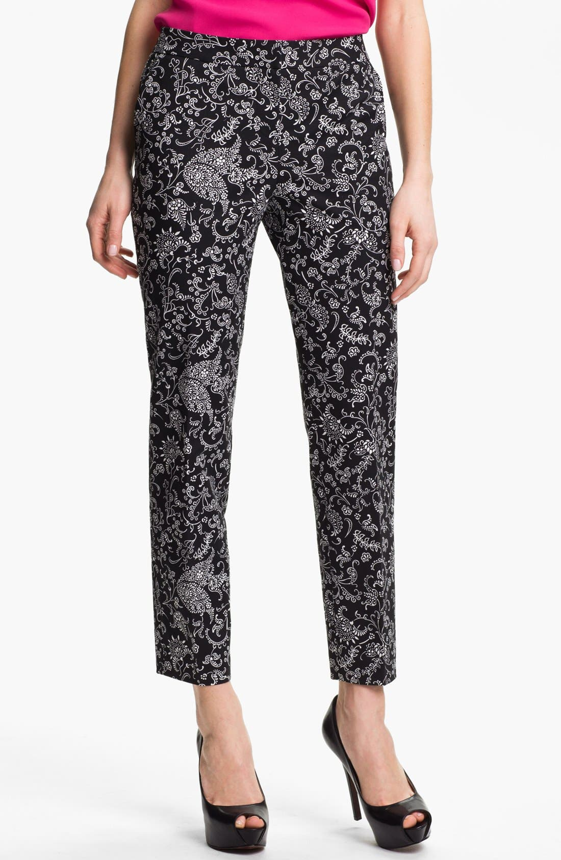 Alternate Image 1 Selected - Halogen® 'Taylor' Patterned Skinny Ankle Pants (Petite)