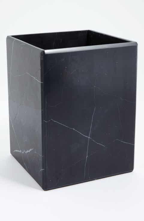 waterworks studio luna black marble wastebasket online