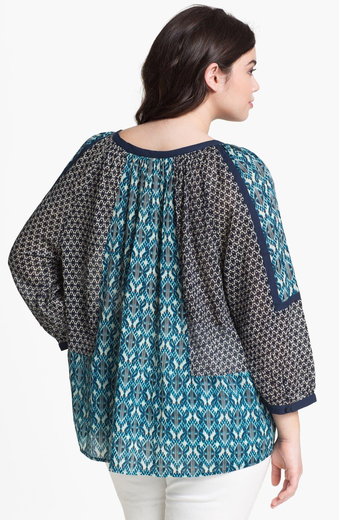 Alternate Image 2  - Lucky Brand 'Bali' Geo Print Blouse (Plus Size)