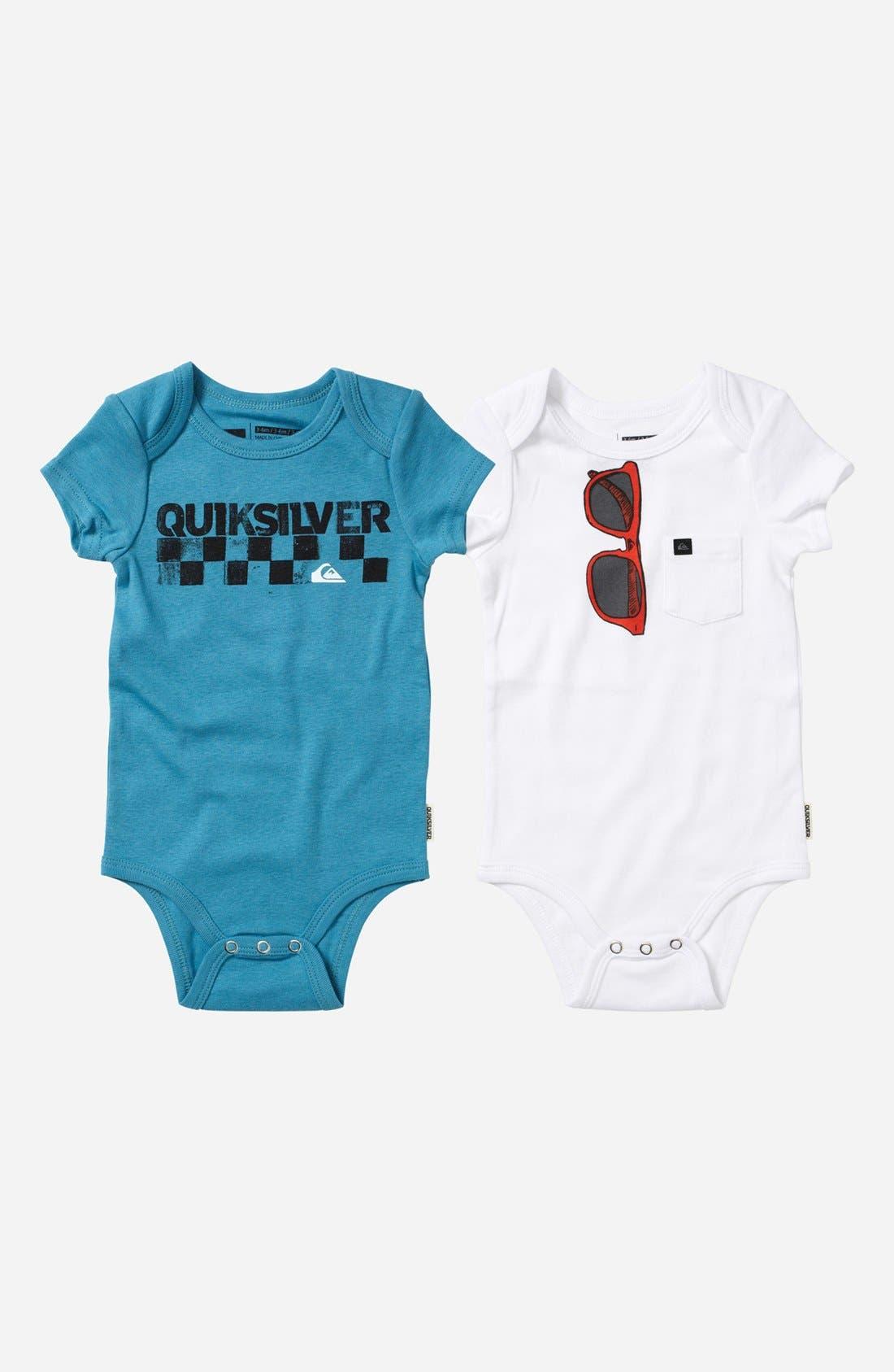 Main Image - Quiksilver 'Echo Beach' Bodysuit (2-Pack) (Baby)