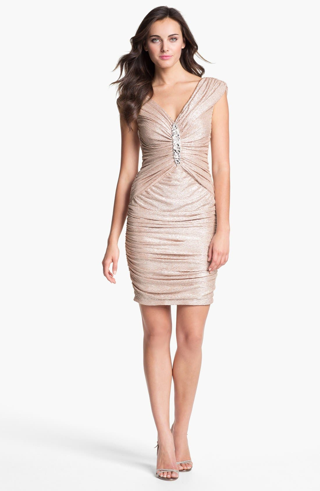 Main Image - Maggy London Embellished Off Shoulder Metallic Dress