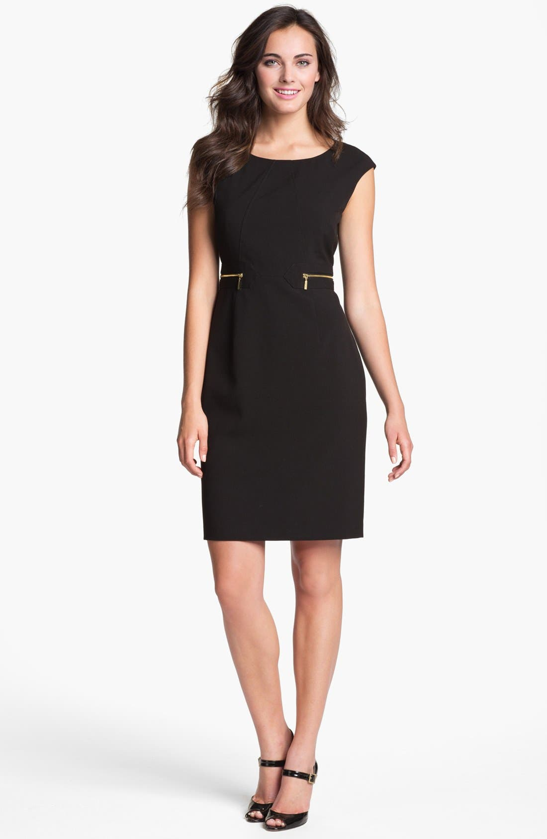 Alternate Image 1 Selected - Calvin Klein Zip Pocket Sheath Dress