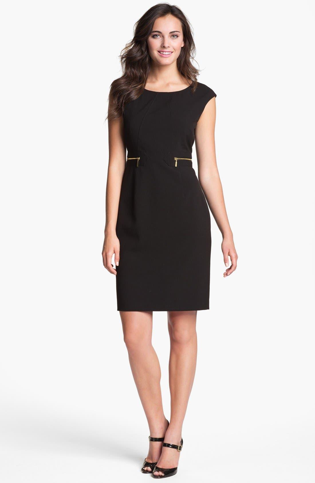 Main Image - Calvin Klein Zip Pocket Sheath Dress