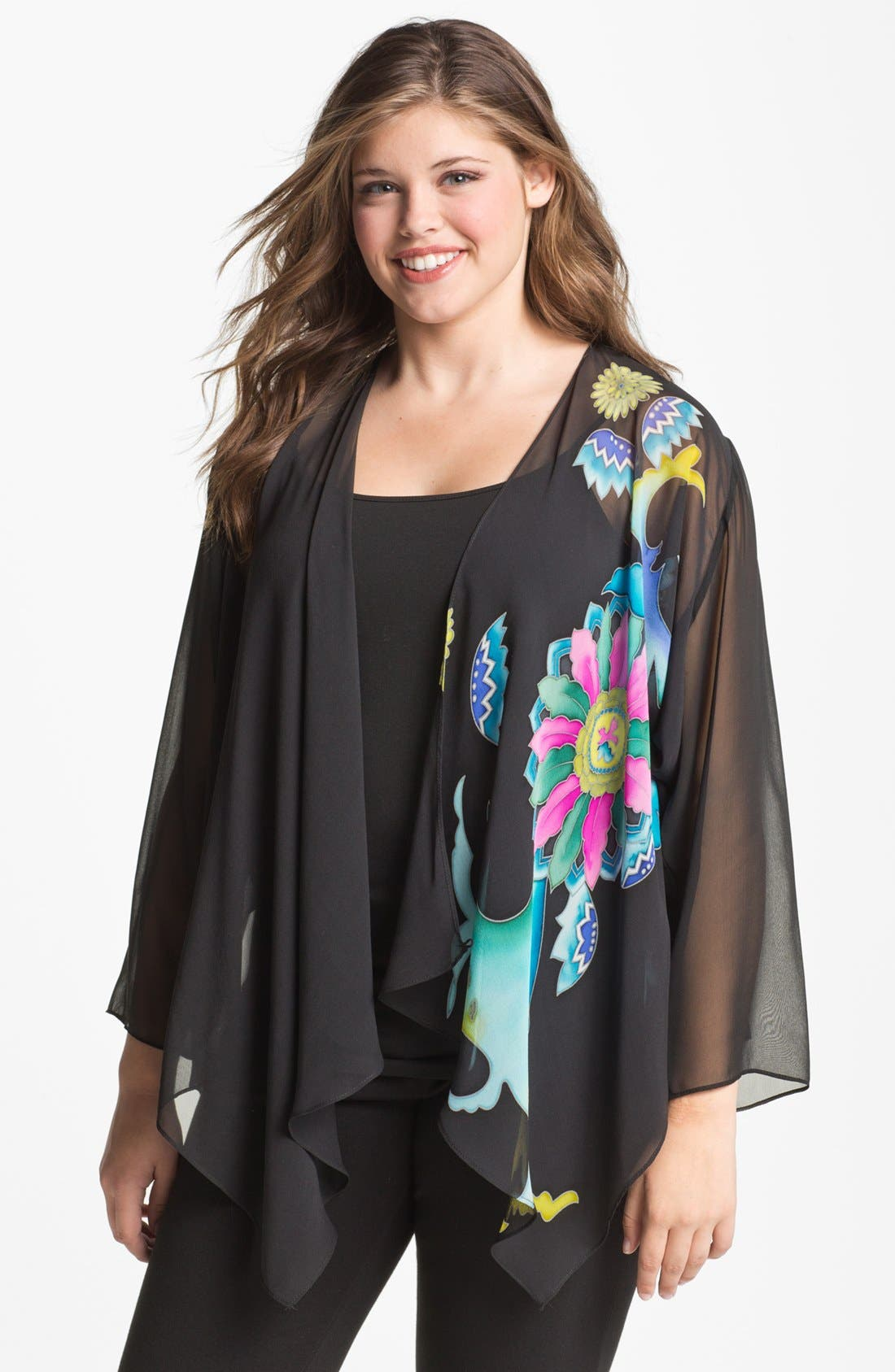 Alternate Image 1 Selected - Citron Print Draped Silk Jacket (Plus)