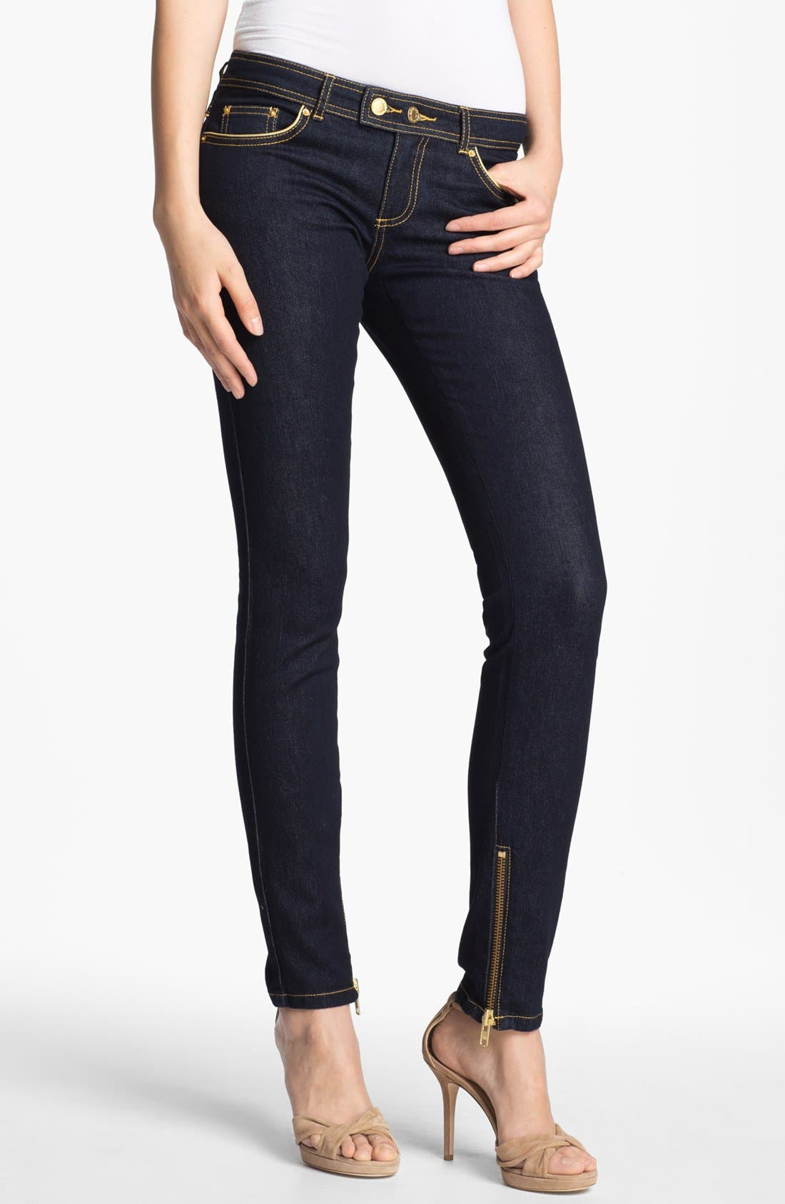 Alternate Image 1 Selected - Rachel Zoe Leather Piped Skinny Stretch Jeans