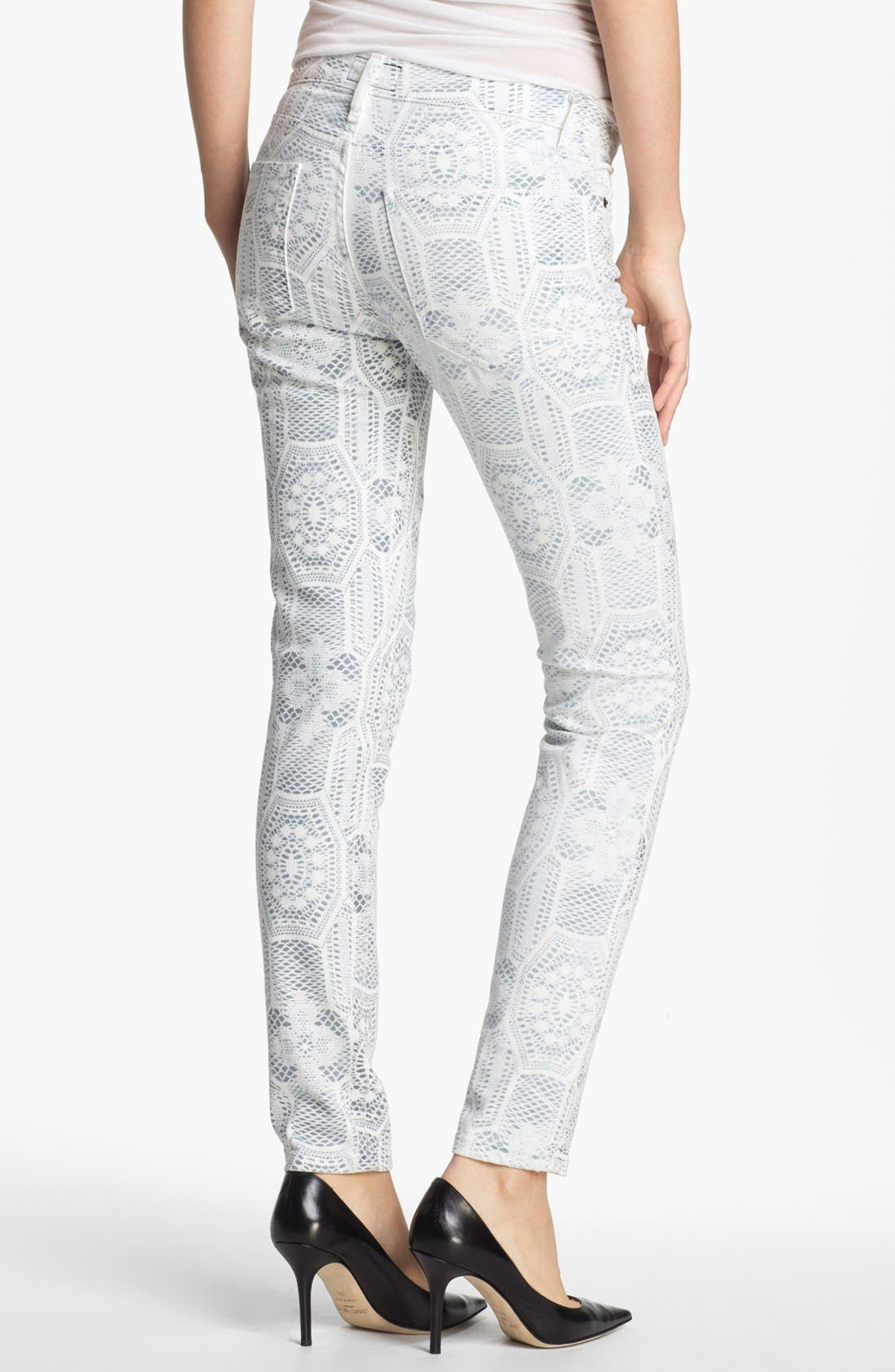 Alternate Image 3  - Current/Elliott 'The Ankle Skinny' Print Stretch Jeans