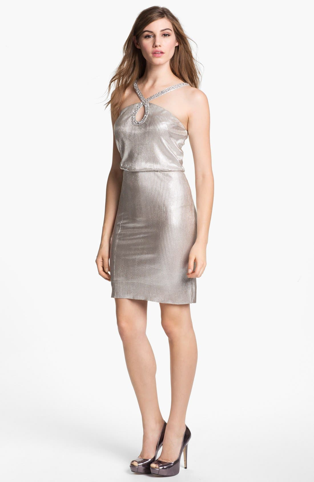 Main Image - Hailey by Adrianna Papell Embellished Metallic Dress