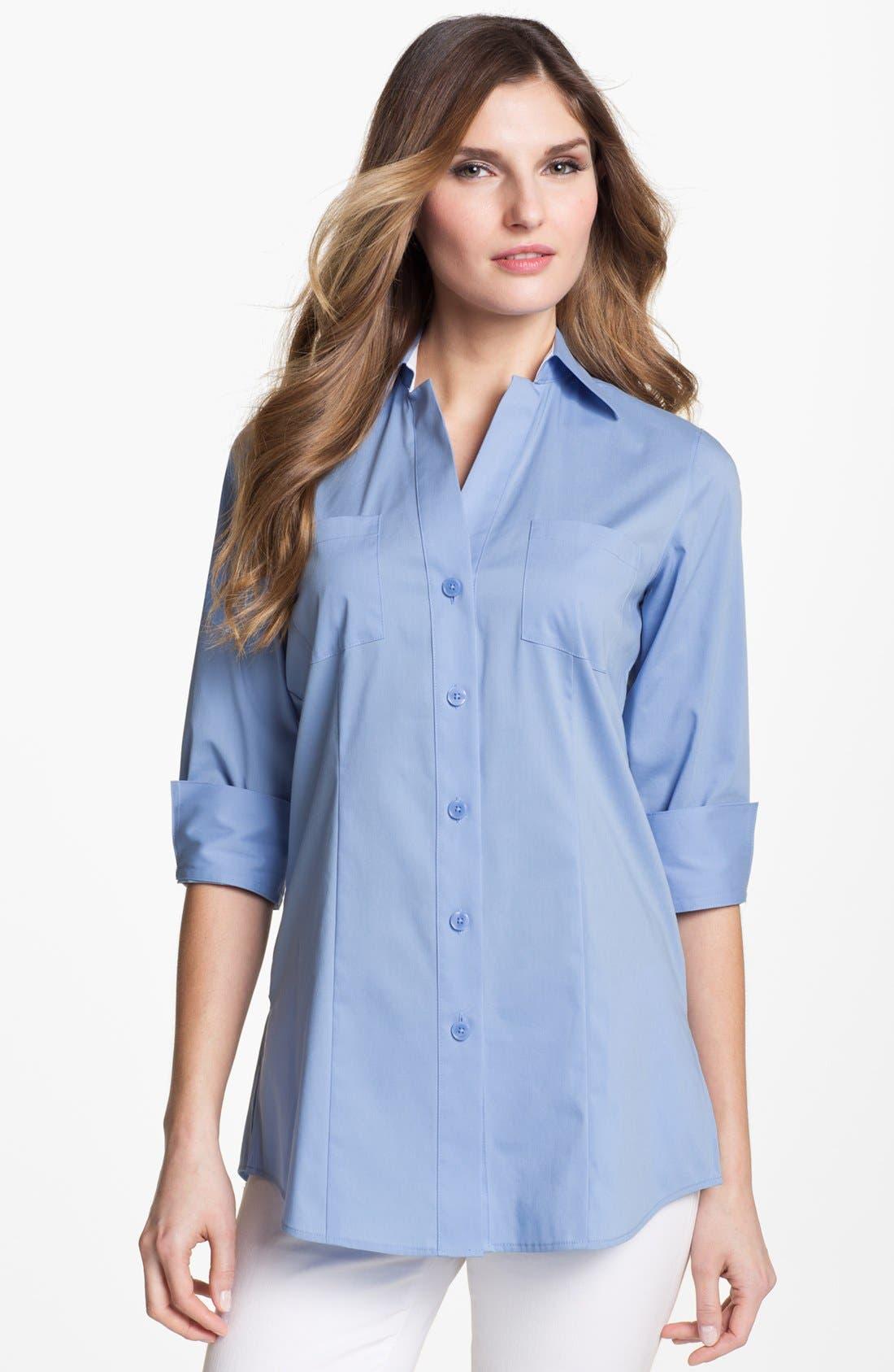 Alternate Image 1 Selected - Foxcroft Three Quarter Sleeve Shaped Shirt