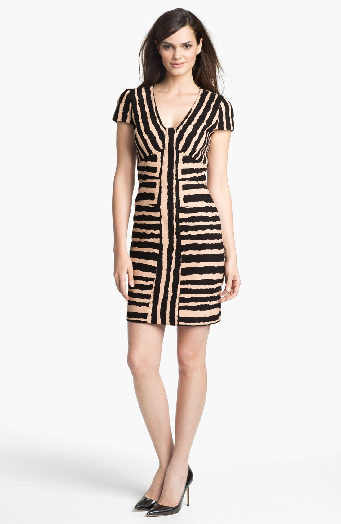 Main Image - 4.collective Print Cap Sleeve Cotton Sheath Dress