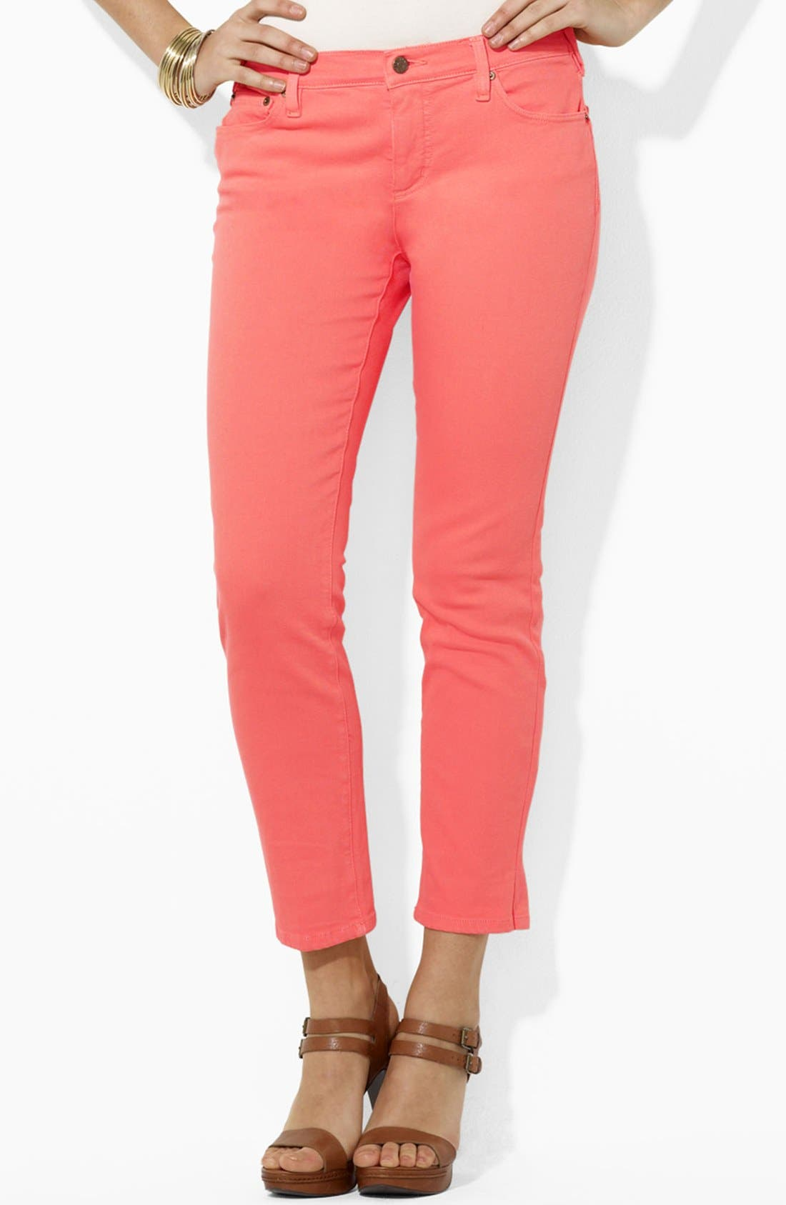Alternate Image 1 Selected - Lauren Ralph Lauren Slimming Straight Leg Ankle Pants (Petite) (Online Only)
