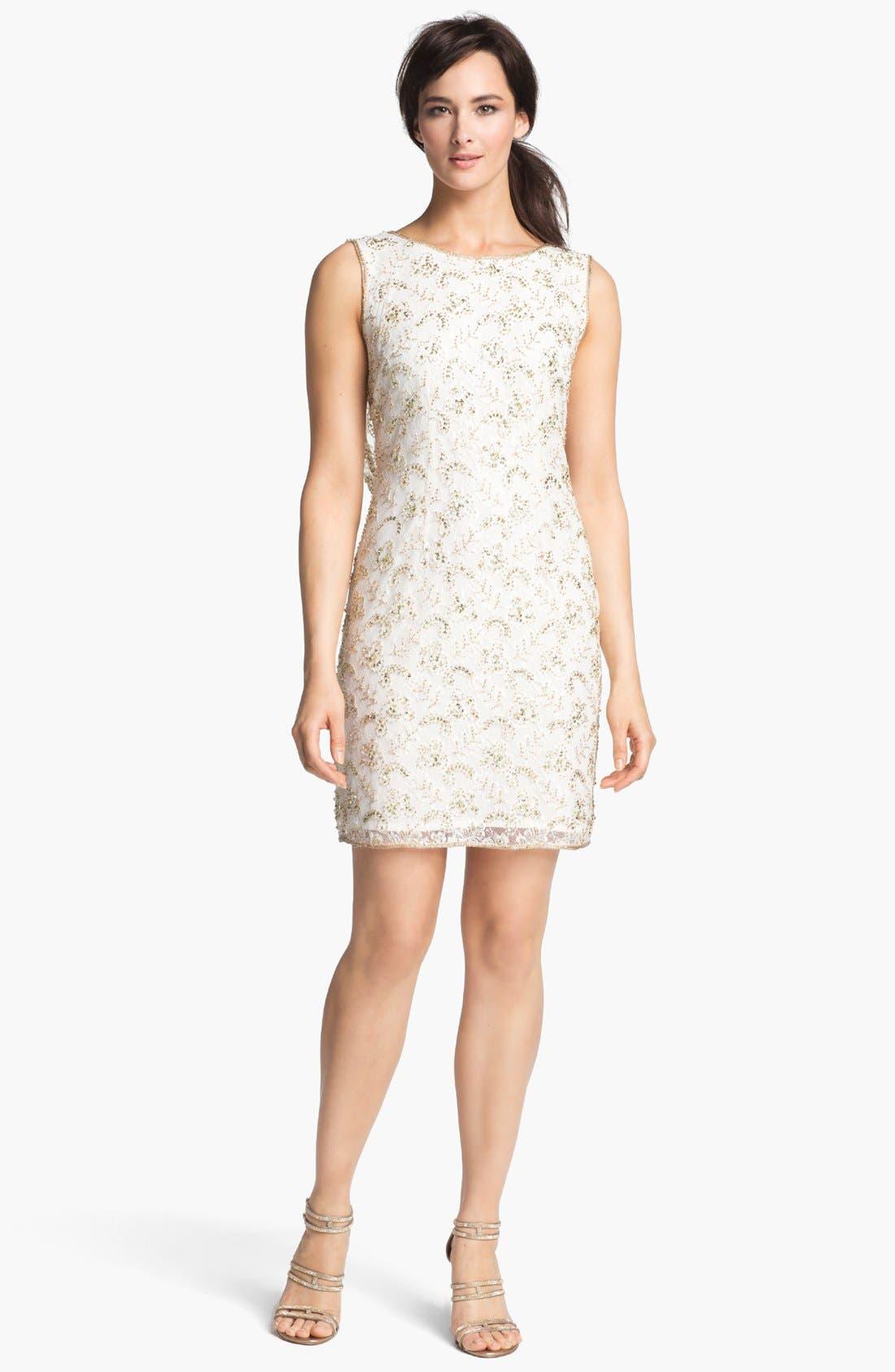 Main Image - Pisarro Nights Draped Back Embellished Lace Sheath Dress