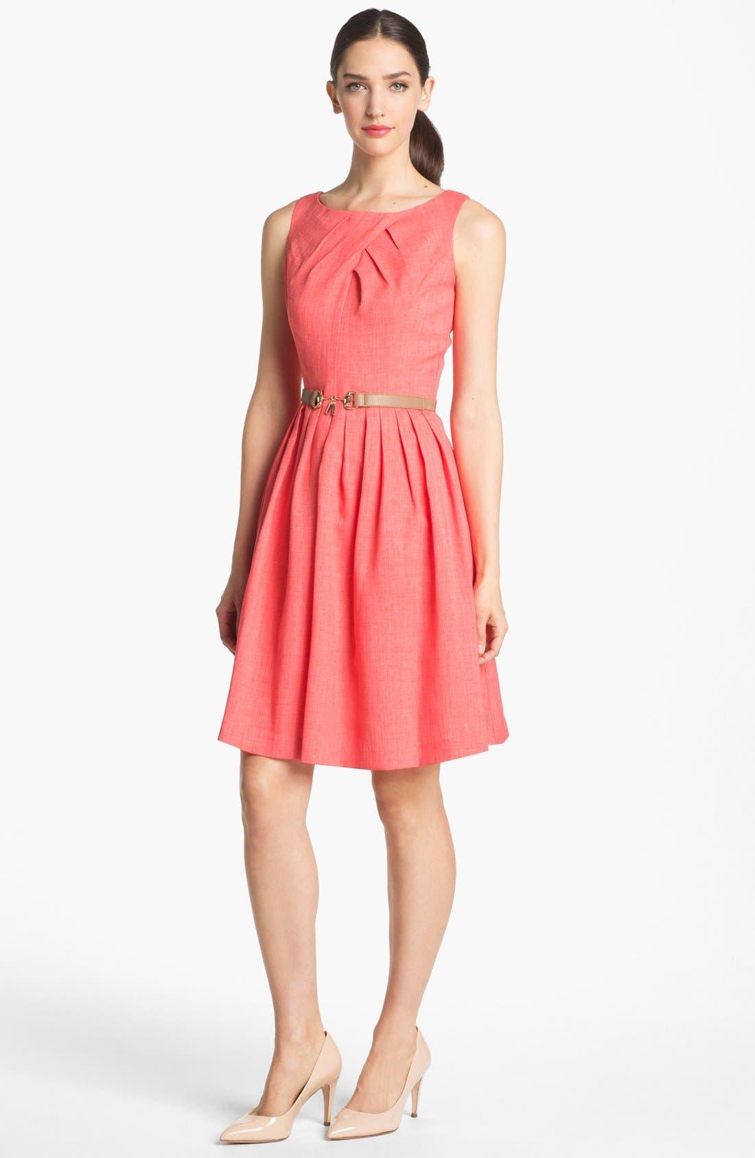 Main Image - Ellen Tracy Pleat Fit & Flare Dress