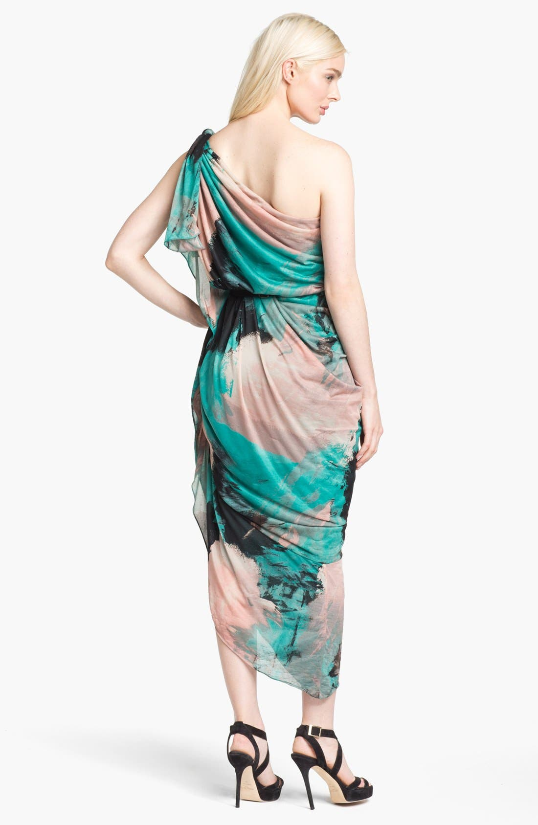 Alternate Image 2  - Halston Heritage Print Draped One Shoulder Dress