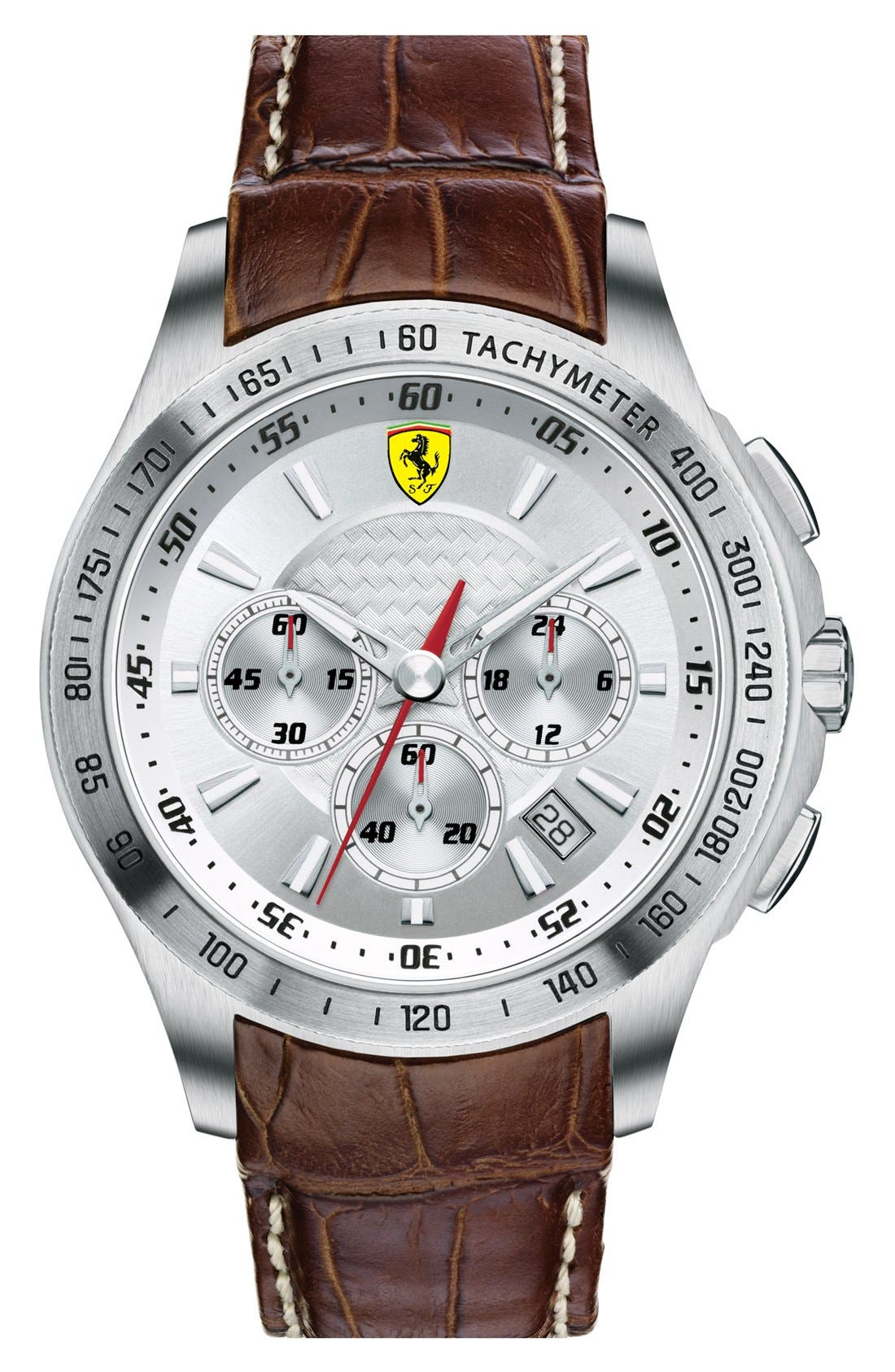 Alternate Image 1 Selected - Scuderia Ferrari Chronograph Leather Strap Watch, 44mm