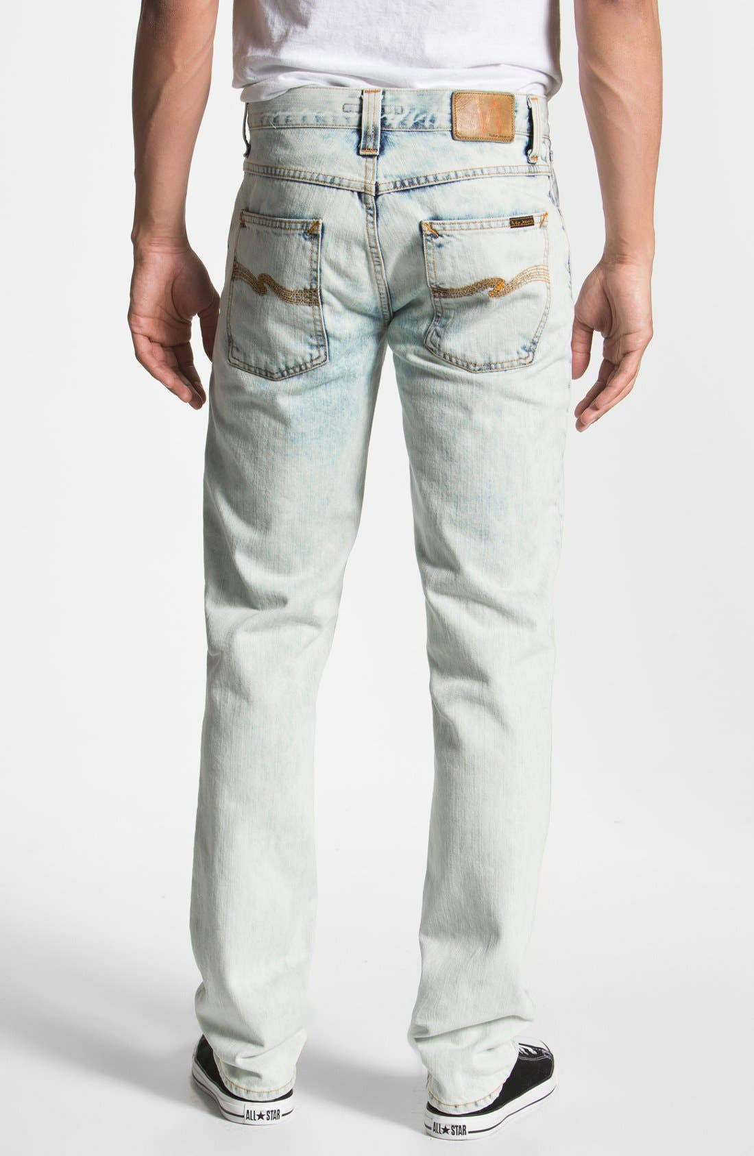 Alternate Image 1 Selected - Nudie 'Grim Tim' Skinny Straight Leg Jeans (Organic Bleach Depot)