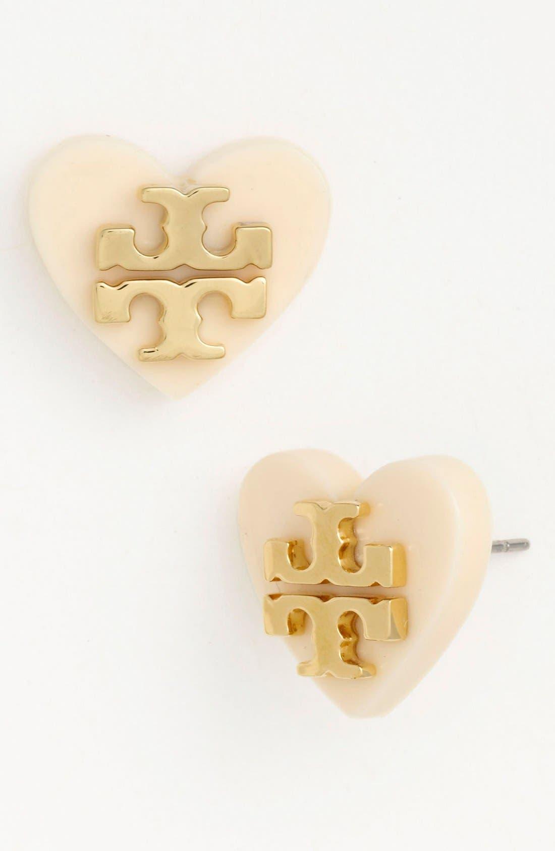 Main Image - Tory Burch 'Tilsim' Logo Heart Stud Earrings