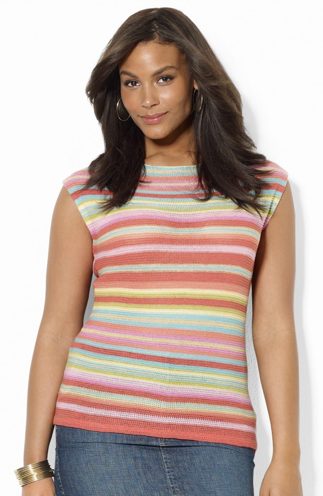Main Image - Lauren Ralph Lauren Drop Shoulder Knit Top (Plus Size)