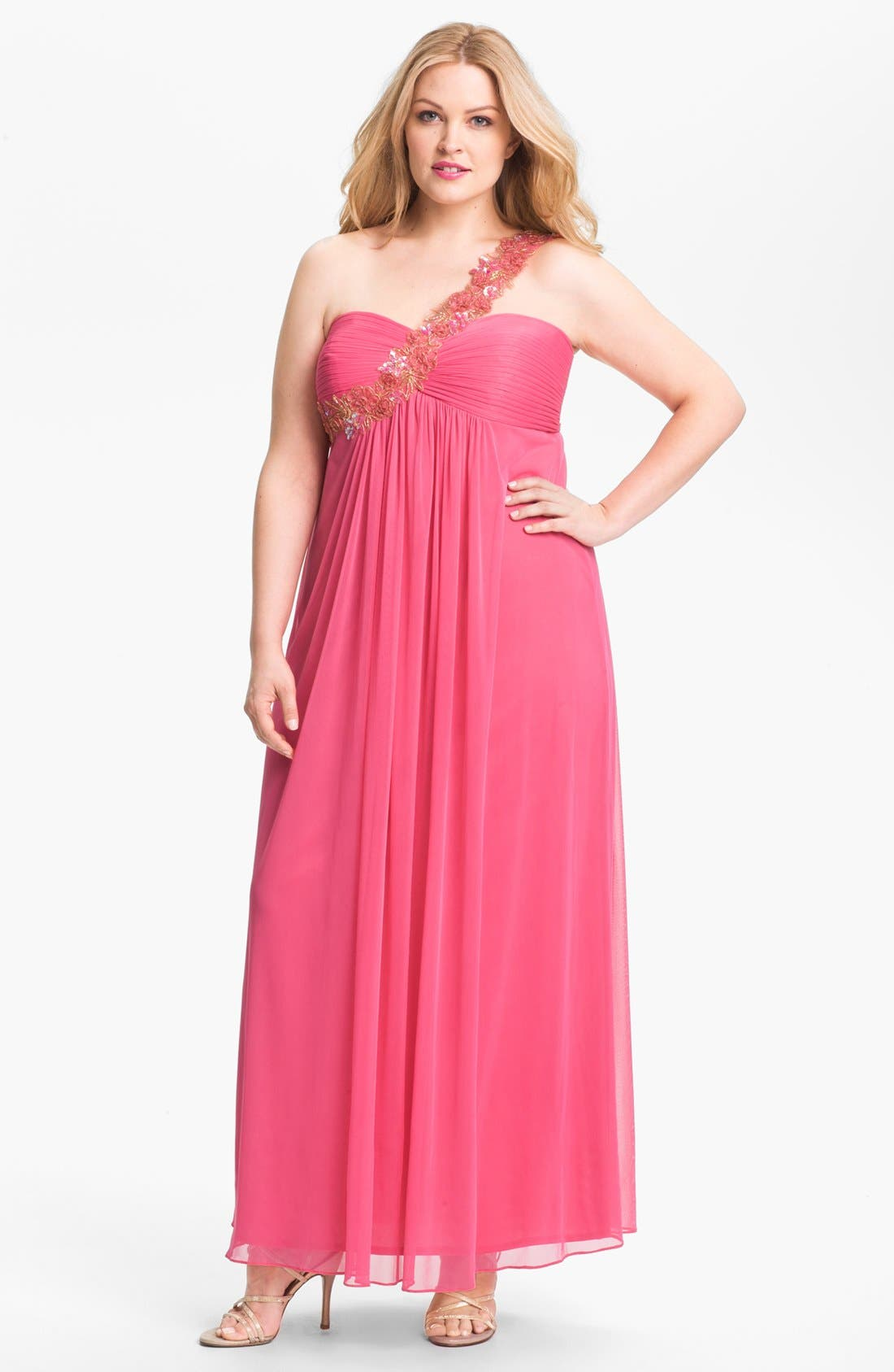 Alternate Image 1 Selected - Xscape Embellished One Shoulder Mesh Gown (Plus Size) (Online Only)