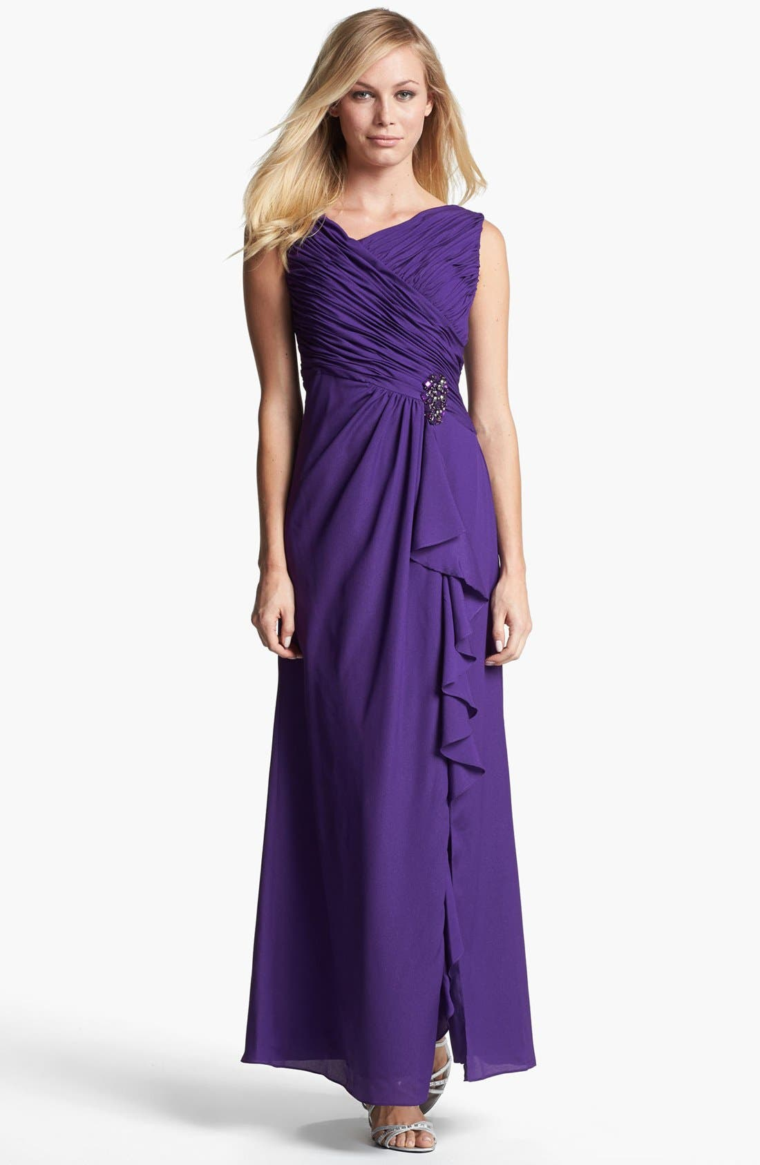 Main Image - Patra Embellished Ruched Crepe Gown