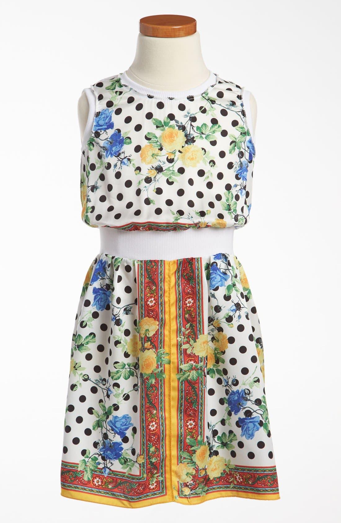 Main Image - Dolce&Gabbana Rose Print Dress (Little Girls & Big Girls)