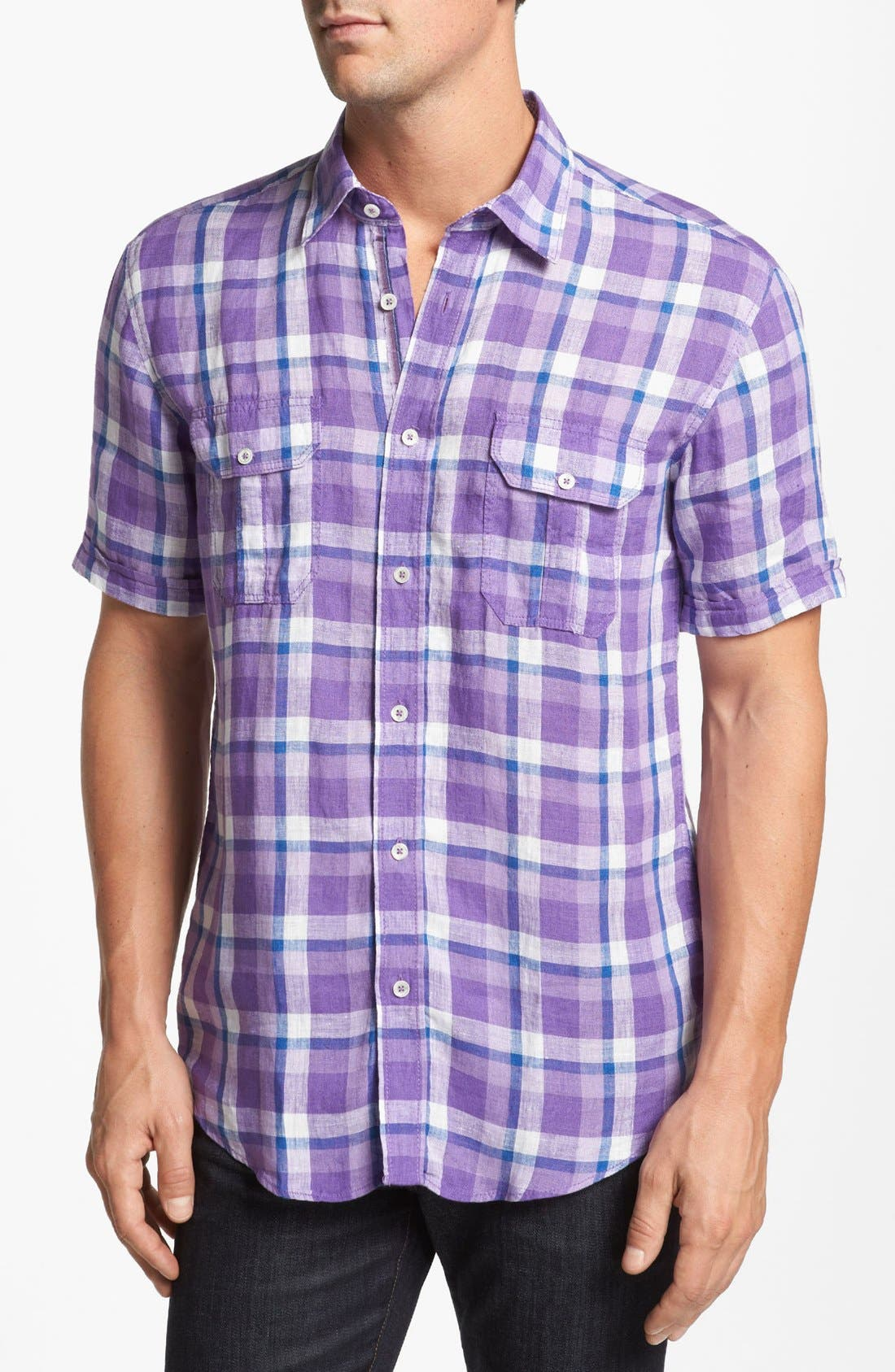 Alternate Image 1 Selected - Bugatchi Short Sleeve Shaped Fit Sport Shirt