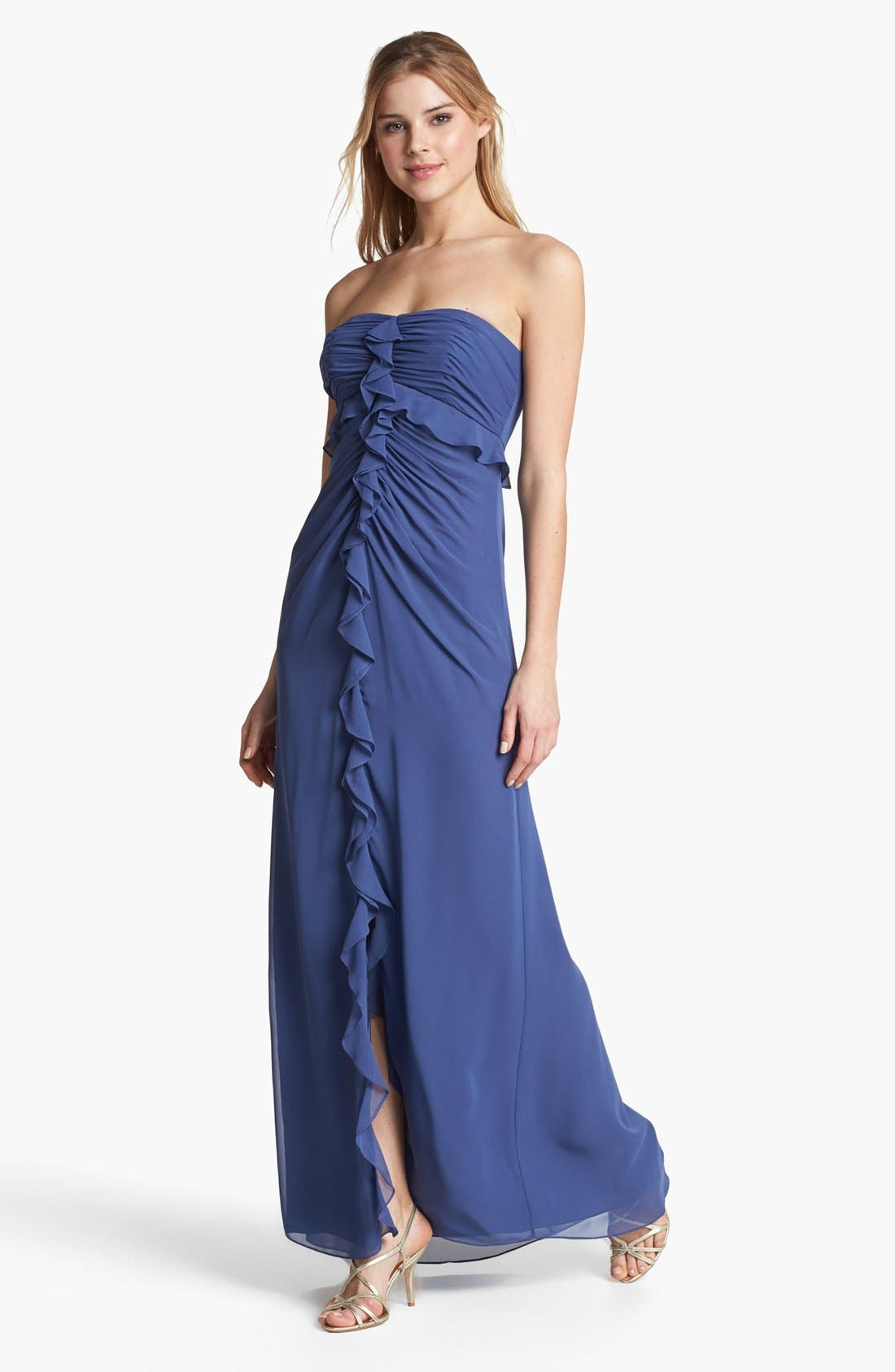 Alternate Image 1 Selected - Jill Jill Stuart Strapless Ruffled Chiffon Gown