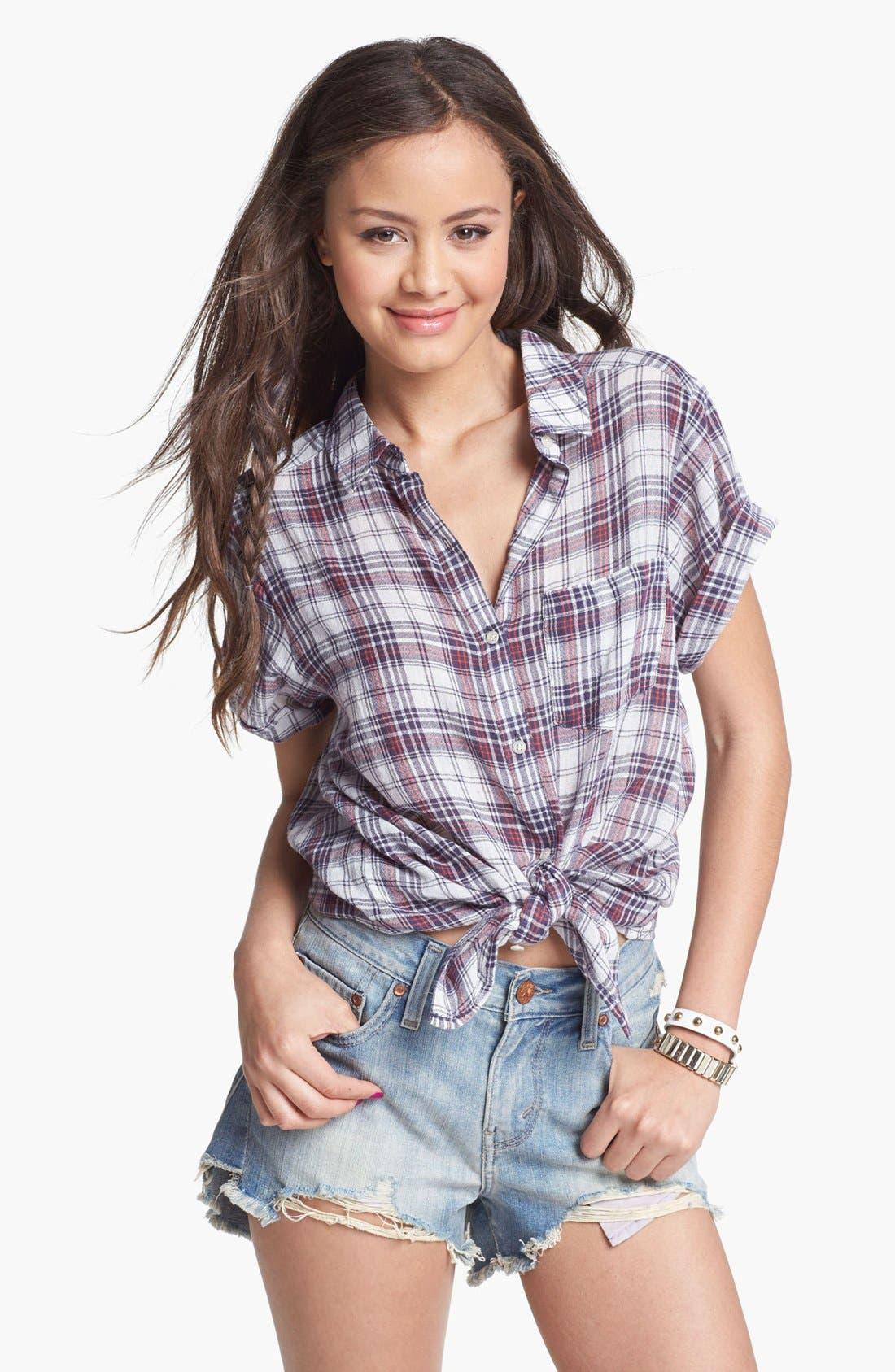 Alternate Image 1 Selected - Rubbish® Plaid Shirt (Juniors)