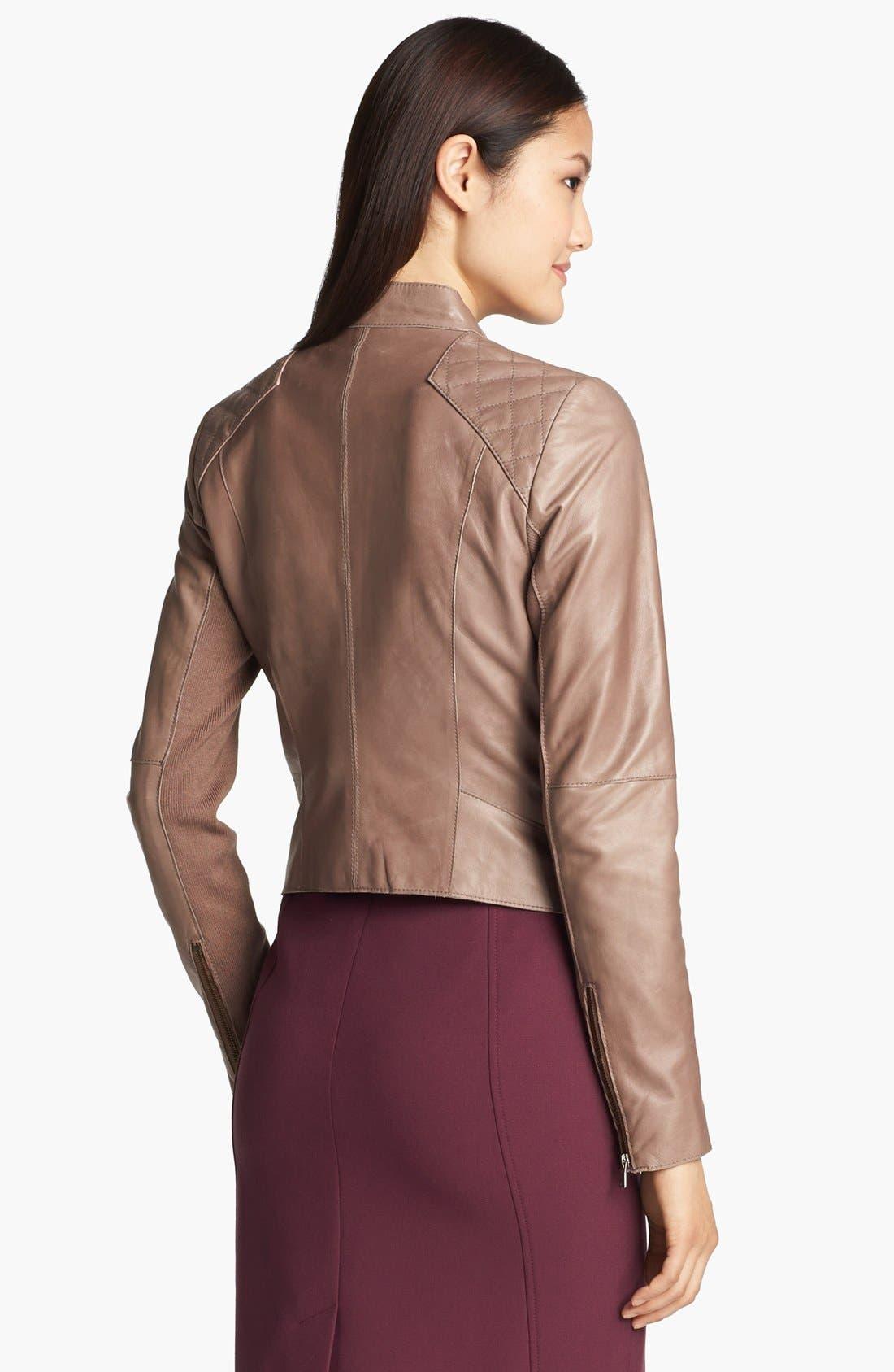 Alternate Image 3  - Halogen® Cutaway Leather Jacket