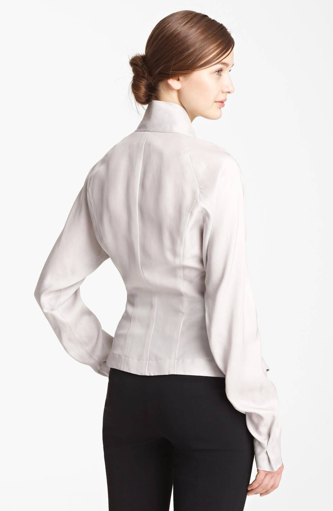Alternate Image 2  - Donna Karan Collection Tailored Satin Blouse