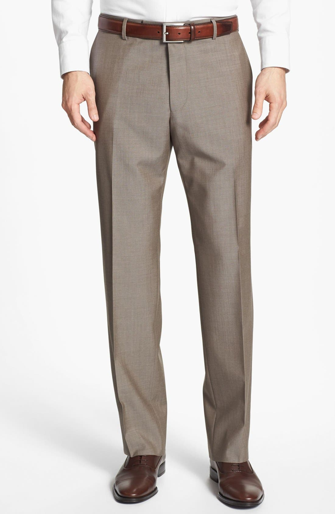 BOSS HUGO BOSS 'Jeffrey US' Flat Front Pinpoint Wool Trousers,                         Main,                         color, Brown