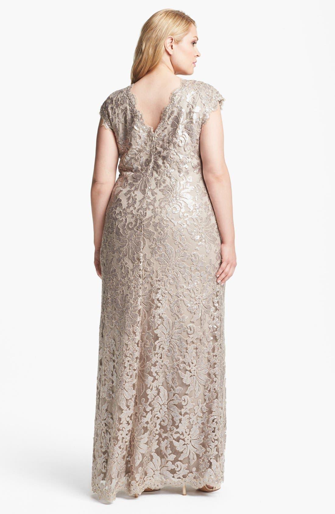 Alternate Image 2  - Tadashi Shoji V-Neck Lace Gown (Plus Size)