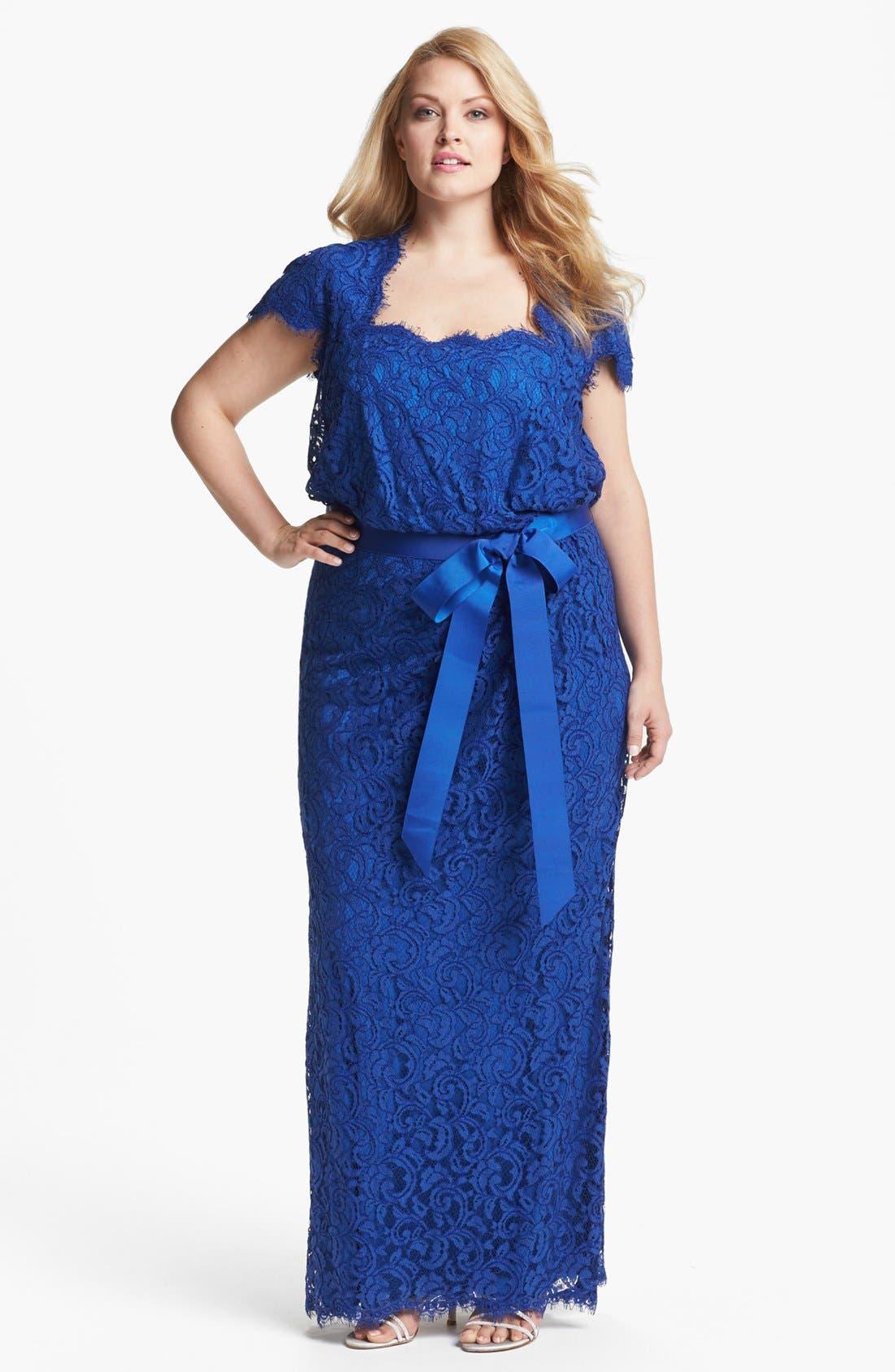 Main Image - Tadashi Shoji Grosgrain Trim Lace Gown (Plus Size)