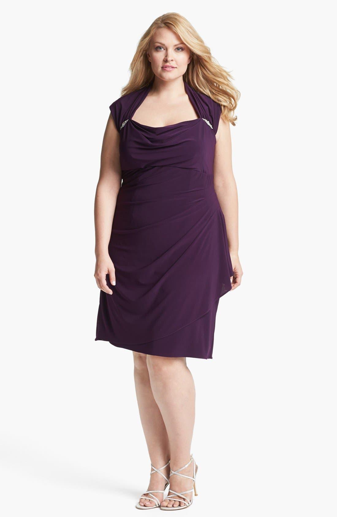 Main Image - Xscape Ruched Cowl Neck Dress (Plus Size)