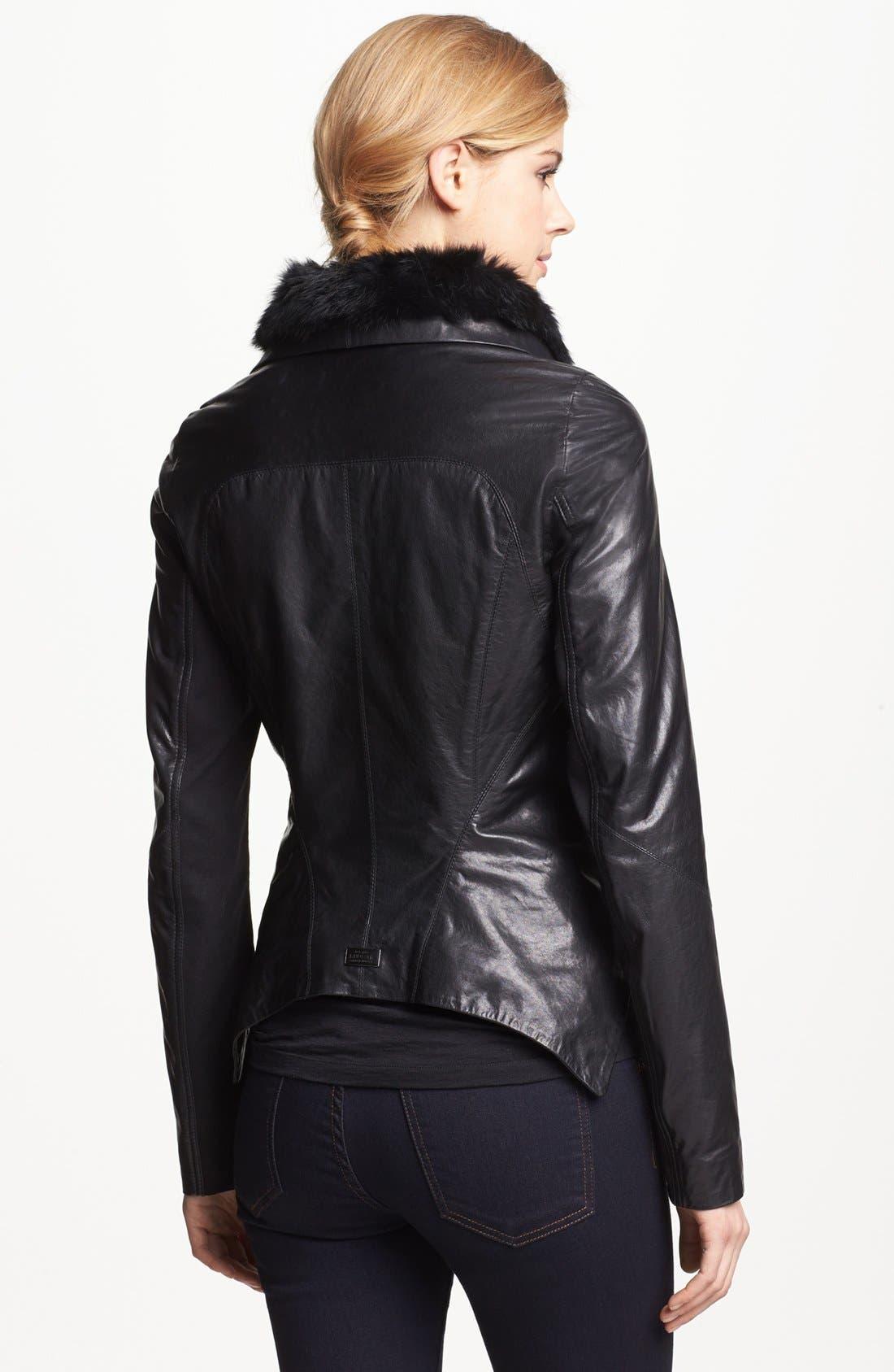 Alternate Image 2  - Rudsak Genuine Rabbit Fur Trim Leather Jacket