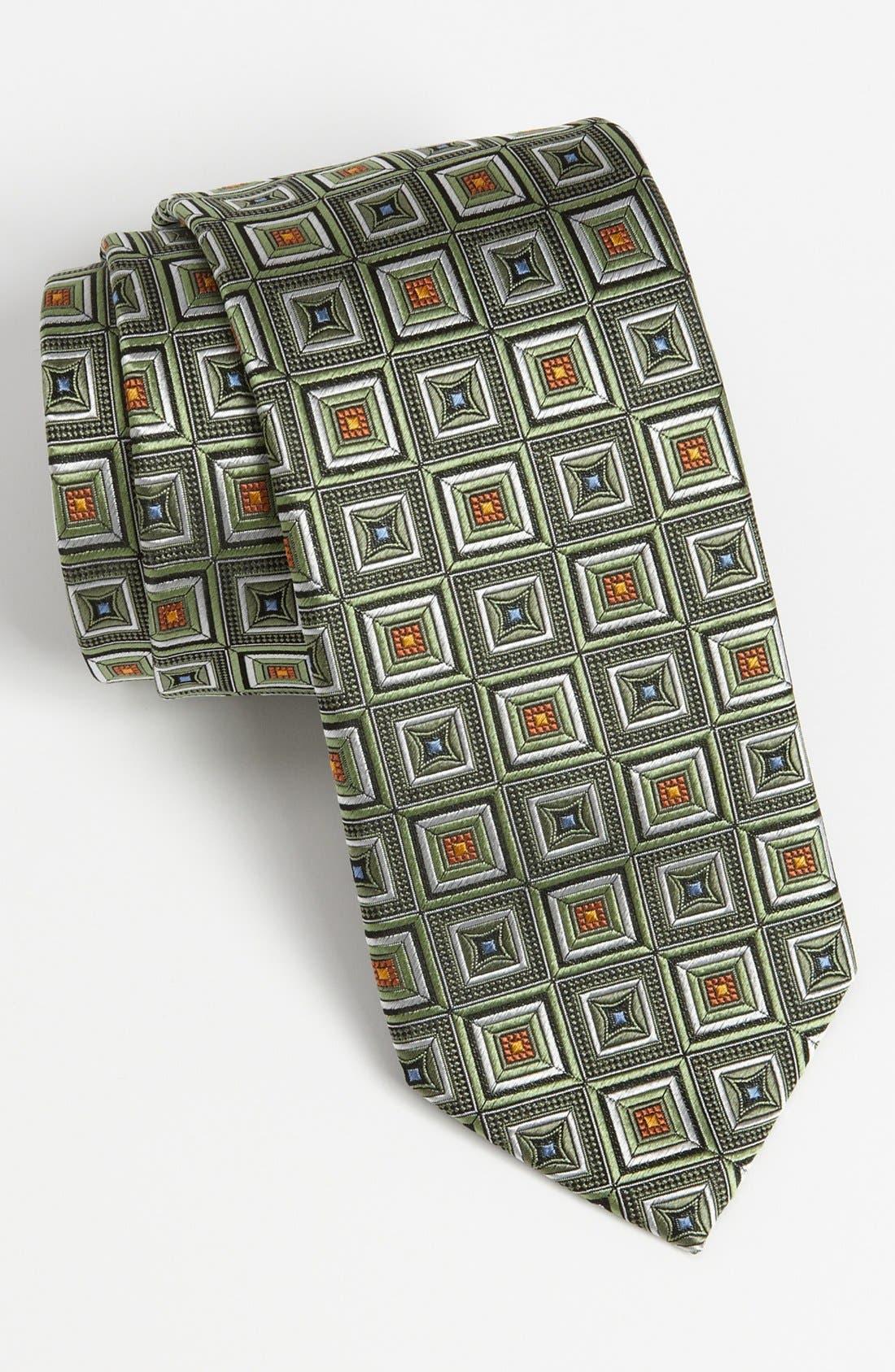 Woven Silk Tie,                         Main,                         color, Green