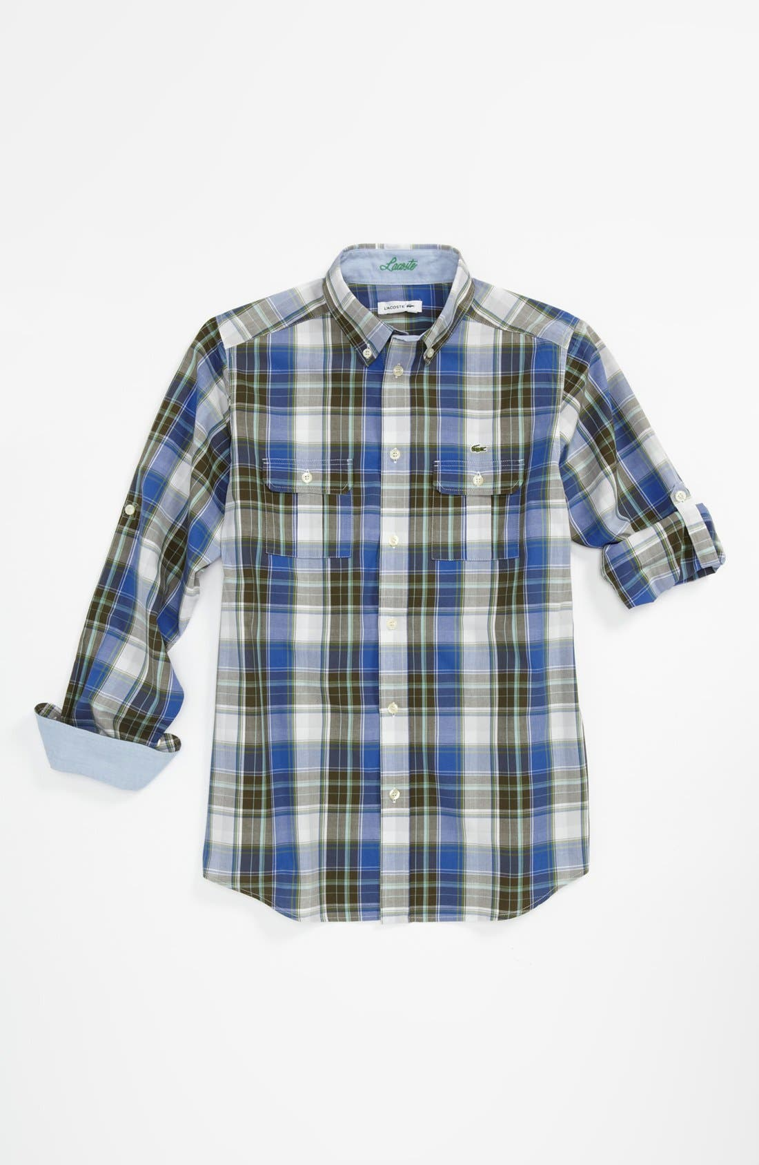Alternate Image 1 Selected - Lacoste Plaid Woven Shirt (Little Boys & Big Boys)