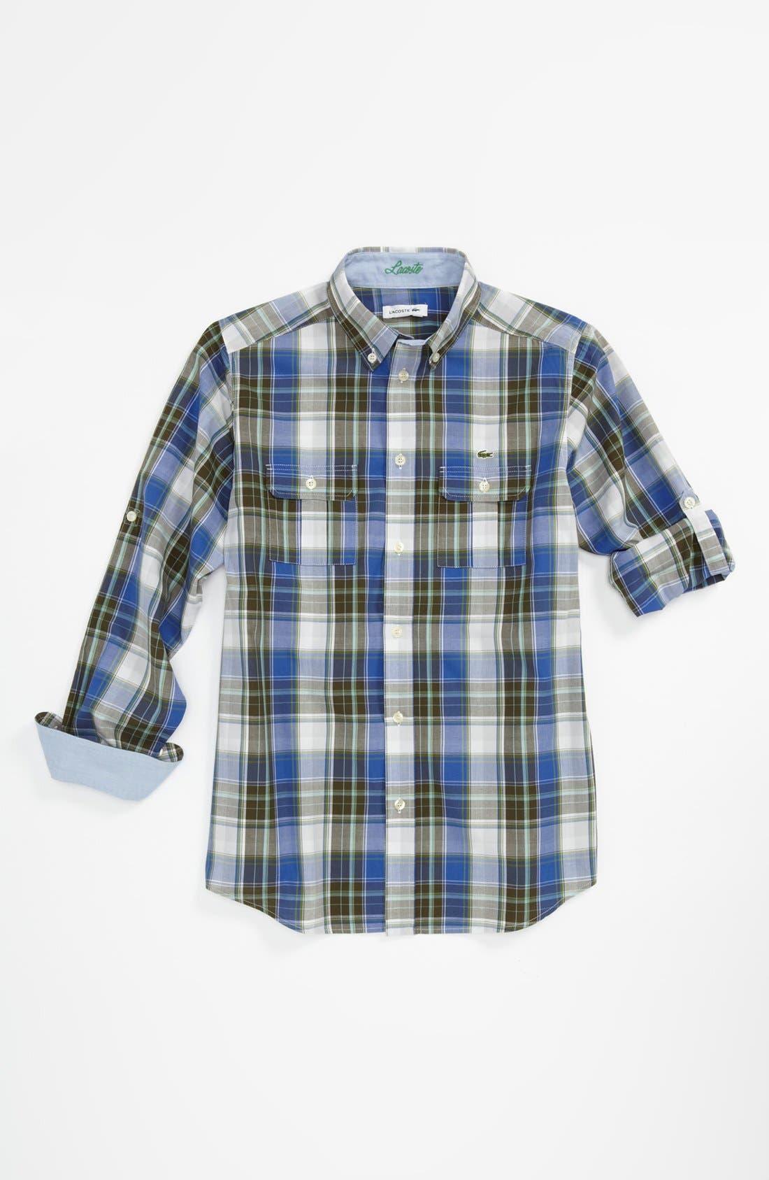 Main Image - Lacoste Plaid Woven Shirt (Little Boys & Big Boys)
