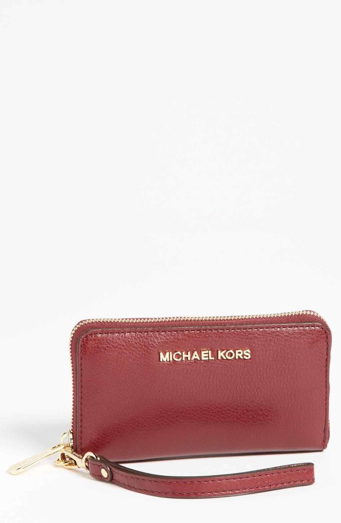 Alternate Image 1 Selected - MICHAEL Michael Kors Leather Phone Wristlet