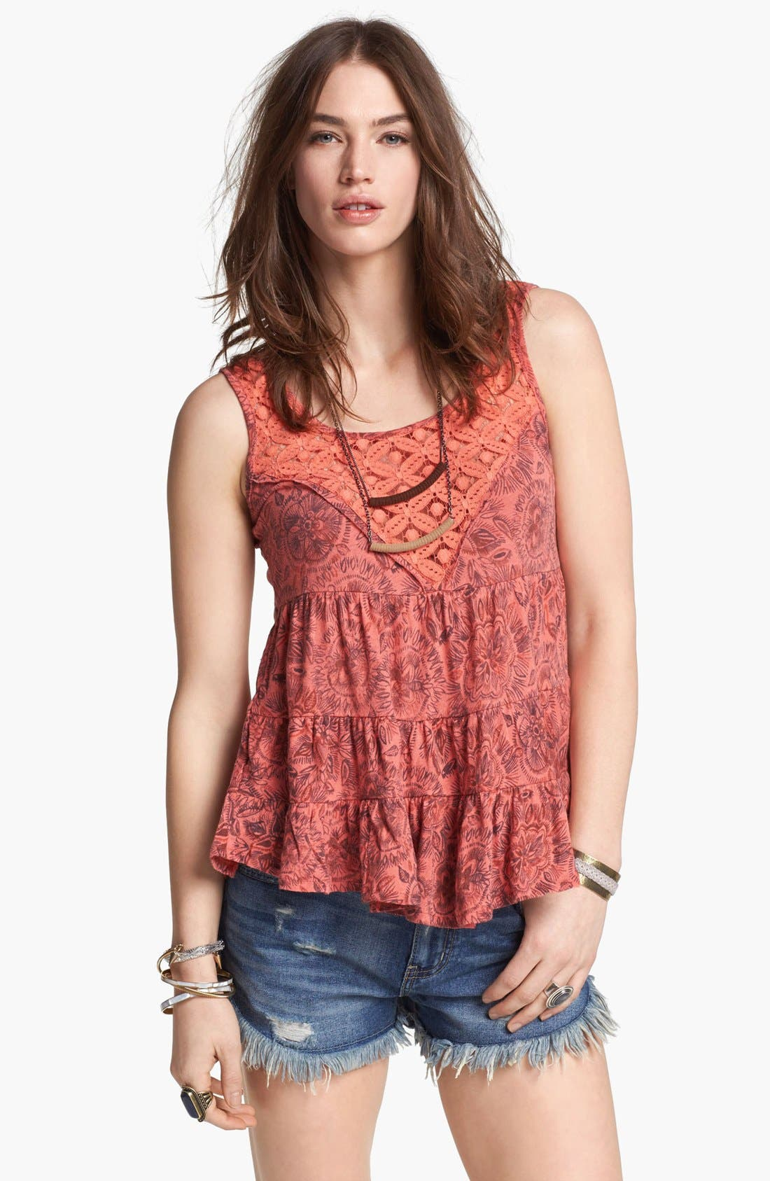 Main Image - Free People 'Dorothy' Print Babydoll Top