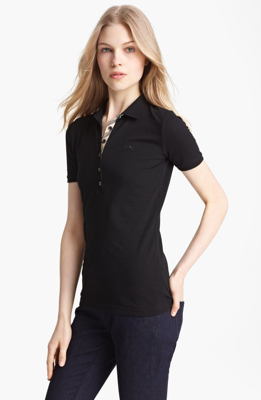 Main Image - Burberry Brit Check Trim Polo