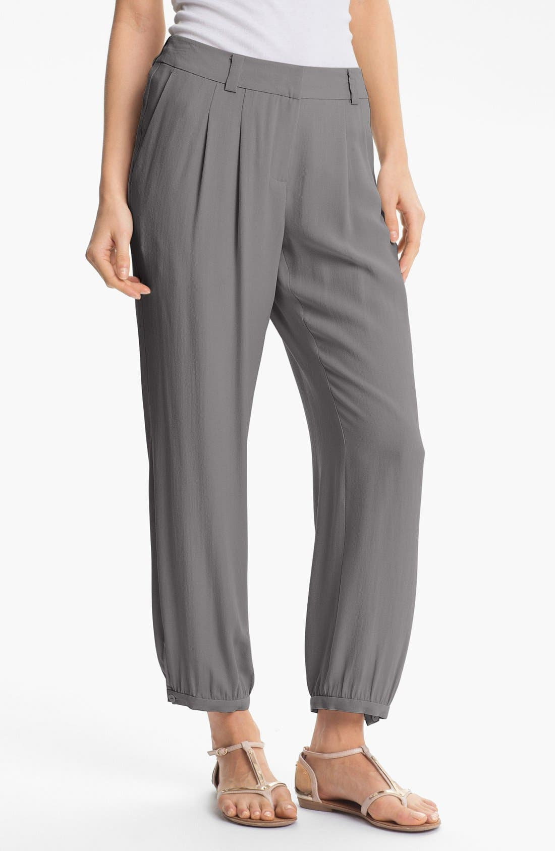 Alternate Image 1 Selected - Eileen Fisher Silk Georgette Crepe Pants