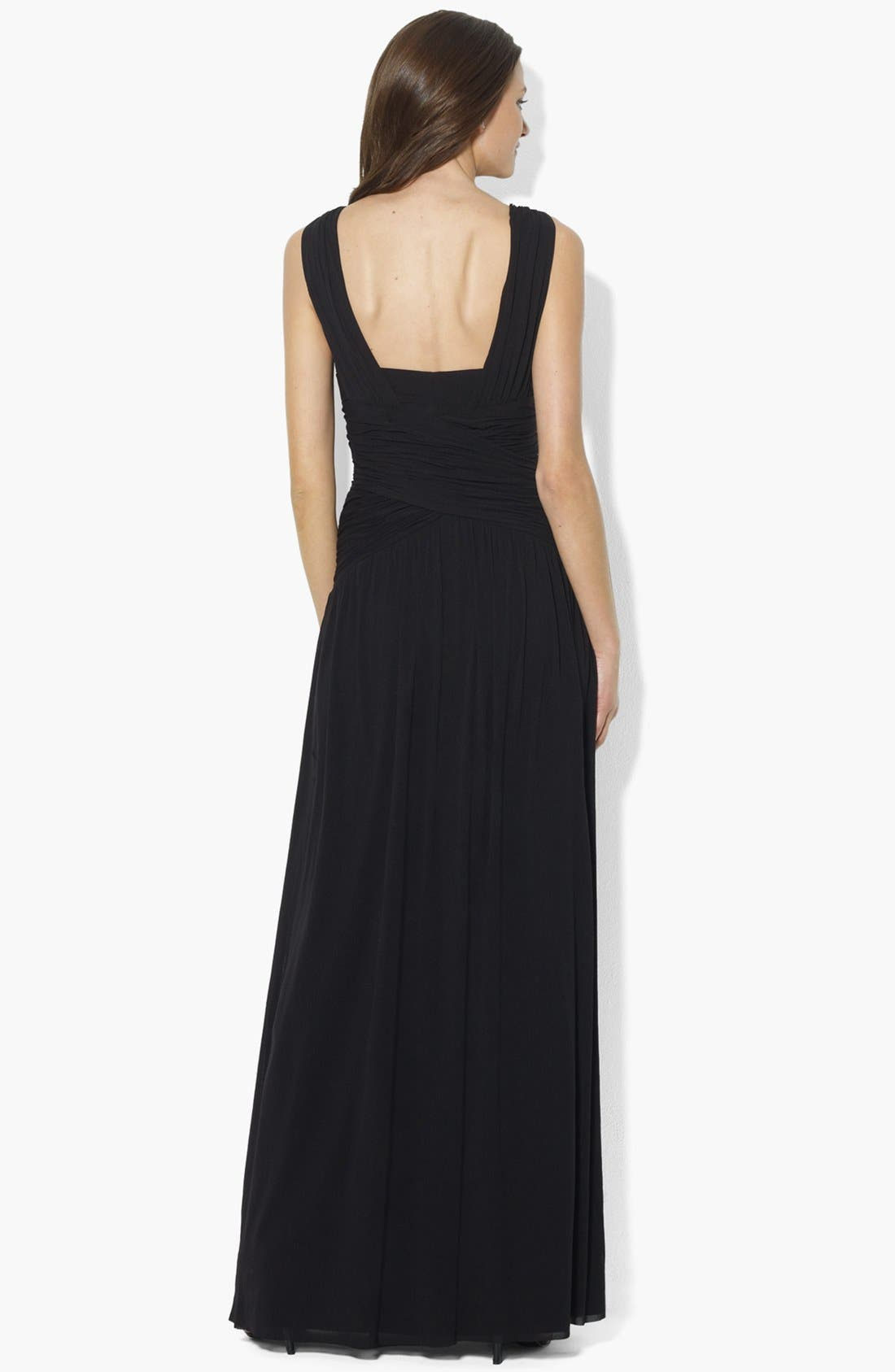 Alternate Image 2  - Lauren Ralph Lauren Sleeveless Shirred Dress (Regular & Petite)